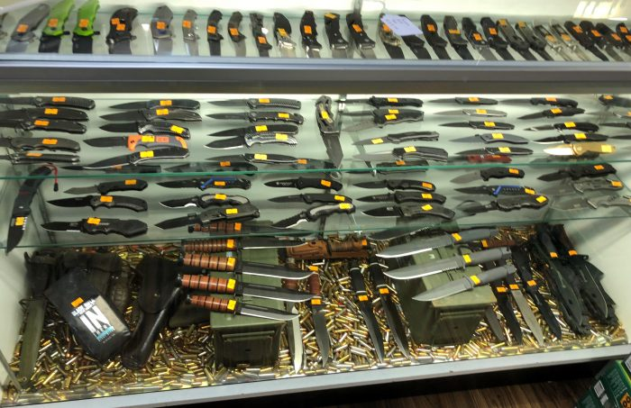 Knife display at Take Aim Guns